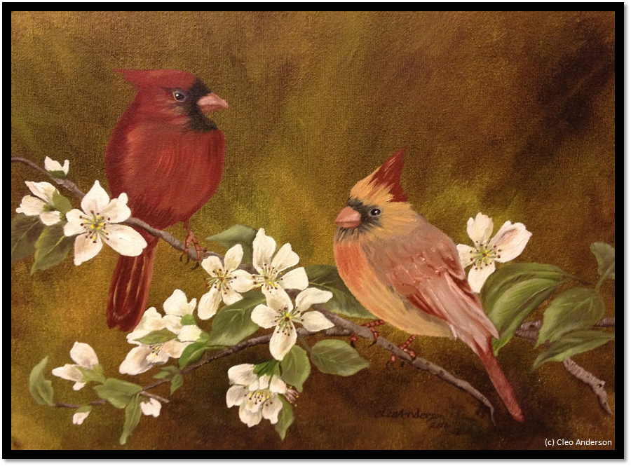 cardinals with frame